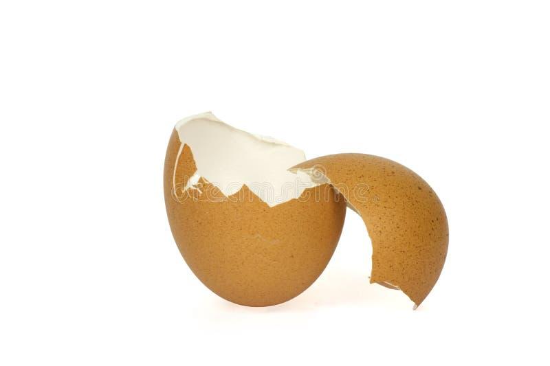 Defekte Eierschale auf wei?em Hintergrund mit cipping Weg lizenzfreie stockfotos