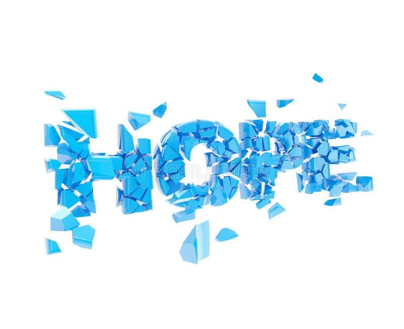 Defekte Hoffnung, Wort explodieren in Stücke lizenzfreie abbildung