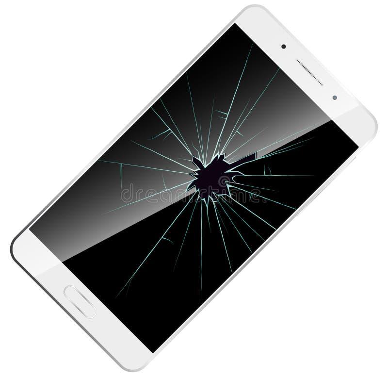 Defekte Telefonschirmikone Vector Illustration weißen modernen Smartphone mit zerbrochenem Glas lizenzfreie abbildung