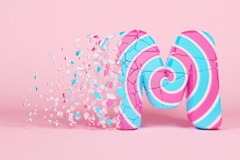 Defekte zerbrochene Versalien des Alphabetbuchstaben M Zerquetschter Weihnachtsguß gemacht vom rosa und blauen gestreiften Lutsch stock abbildung