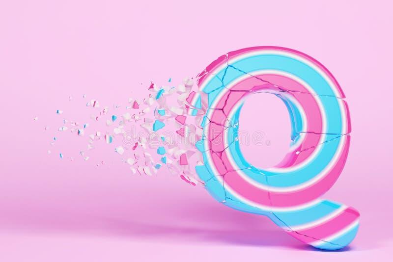 Defekte zerbrochene Versalien des Alphabetbuchstaben Q Zerquetschter Weihnachtsguß gemacht vom rosa und blauen gestreiften Lutsch lizenzfreie abbildung