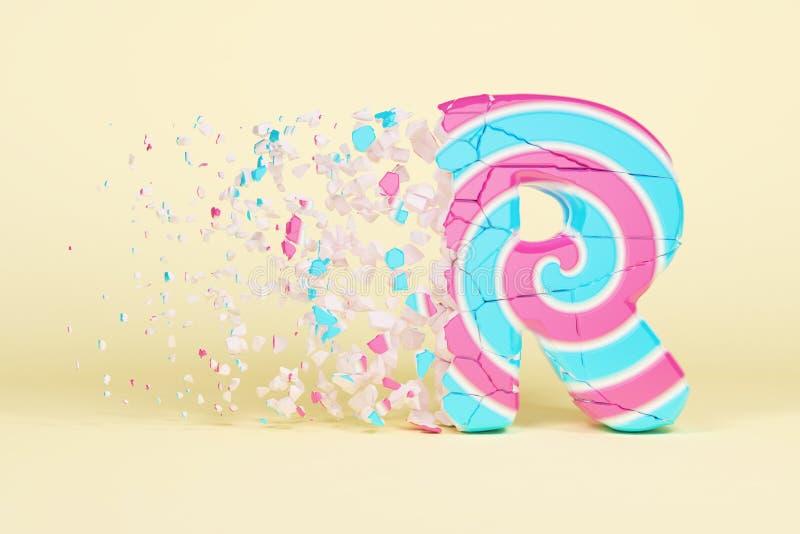 Defekte zerbrochene Versalien des Alphabetbuchstaben R Zerquetschter Weihnachtsguß gemacht vom rosa und blauen gestreiften Lutsch stock abbildung