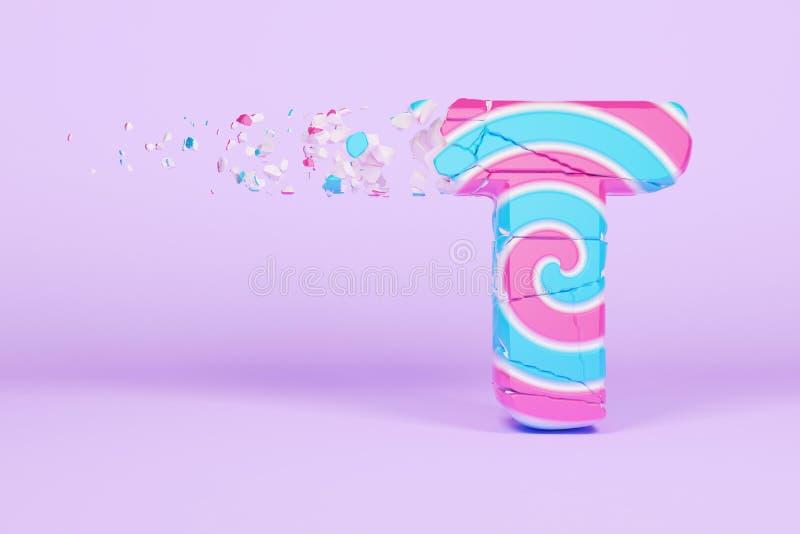 Defekte zerbrochene Versalien des Alphabetbuchstaben T Zerquetschter Weihnachtsguß gemacht vom rosa und blauen gestreiften Lutsch stock abbildung