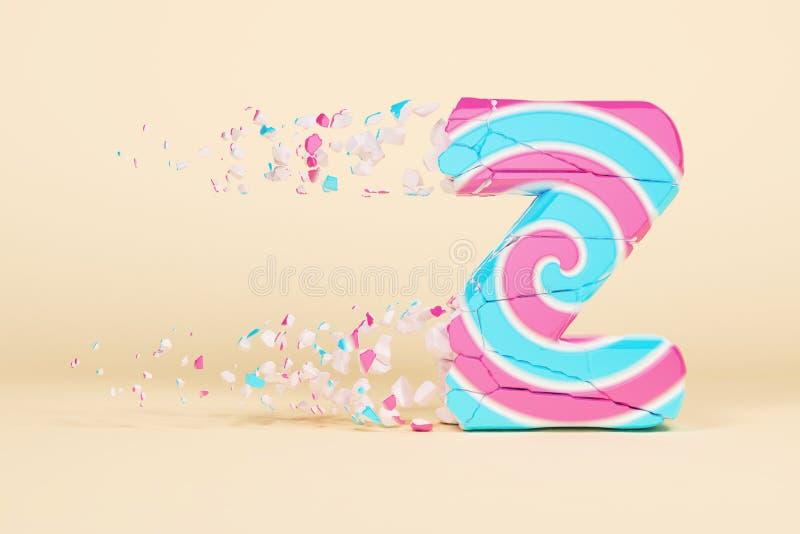 Defekte zerbrochene Versalien des Alphabetbuchstaben Z Zerquetschter Weihnachtsguß gemacht vom rosa und blauen gestreiften Lutsch lizenzfreie abbildung