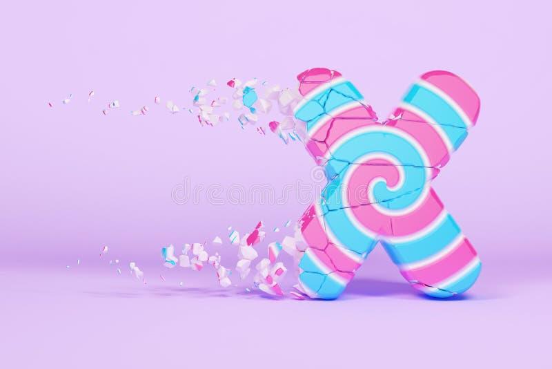 Defekte zerbrochene Versalien des Alphabetbuchstaben X Zerquetschter Weihnachtsguß gemacht vom rosa und blauen gestreiften Lutsch vektor abbildung