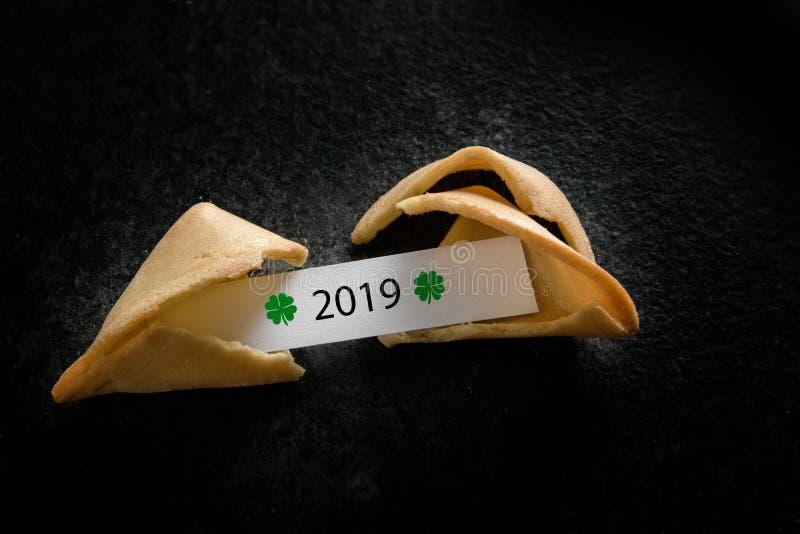 Defekter chinesischer Glückskeks mit 2019 auf dem Papierbeleg auf einem dunklen Hintergrund mit Kopienraum, Konzept des neuen Jah stockfotos