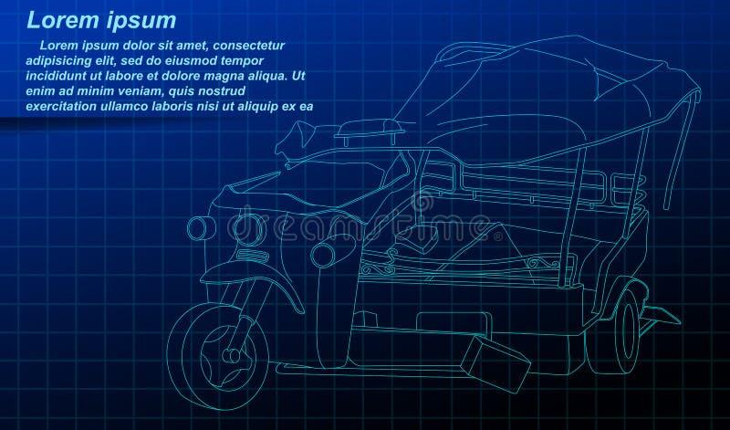 Defekter Dreiradentwurf auf blauem Hintergrund vektor abbildung