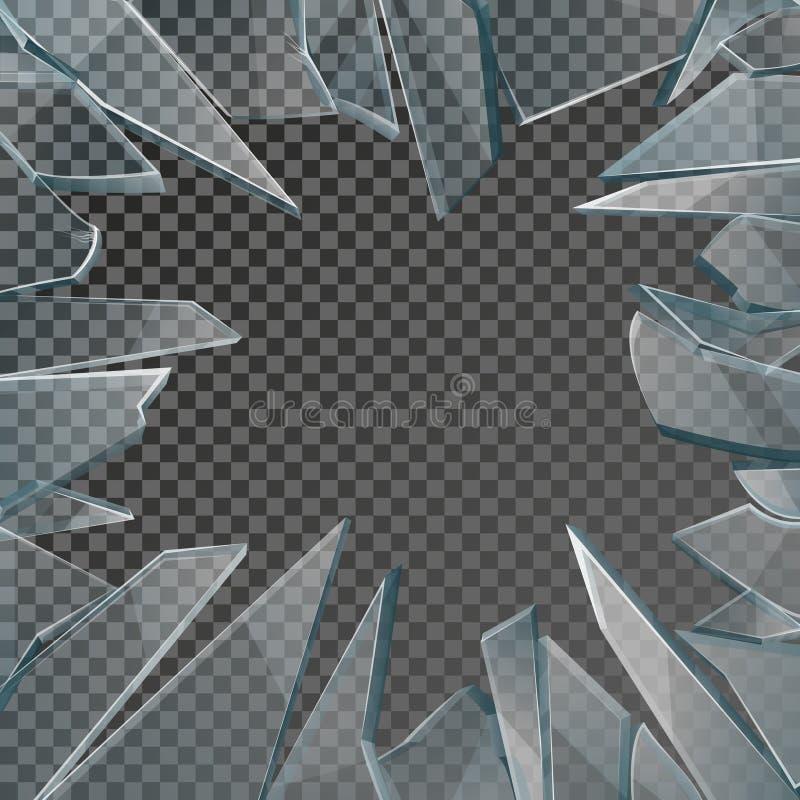 Defekter Glasfensterrahmenvektor lizenzfreie abbildung