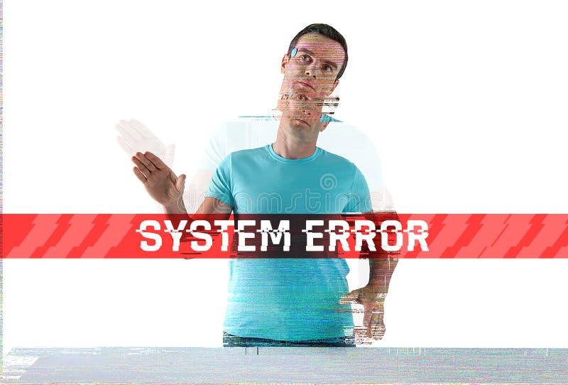 Defekter Humanoid, der einen Systemfehler hat und schlecht schaut lizenzfreies stockbild