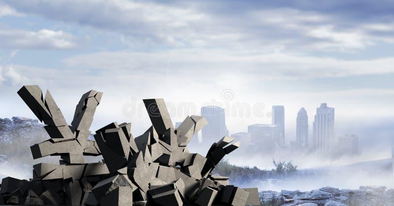 Defekter konkreter Stein mit Yengeldsymbol im Stadtbild stock abbildung