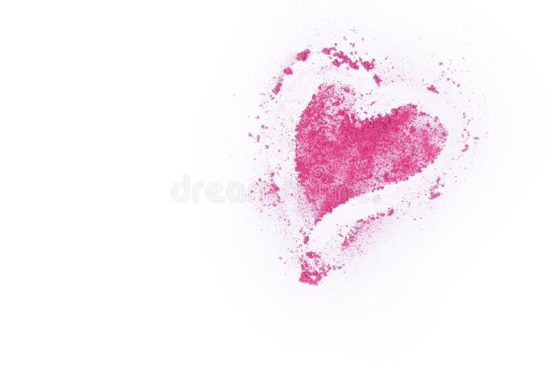Defekter Lidschatten in der Herzform lokalisiert auf weißem Hintergrund stockfotografie
