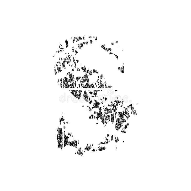 Defekter Schmutz pixelated den Buchstaben, der auf weißem Hintergrund lokalisiert wurde stock abbildung