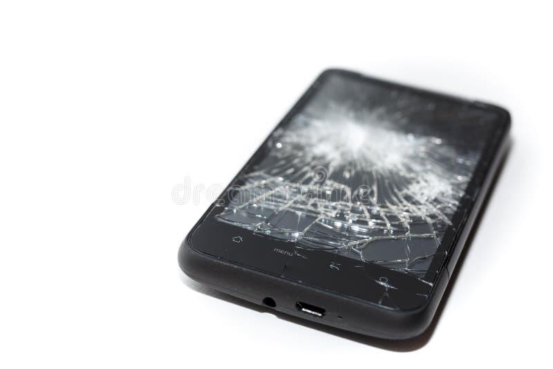 Defekter Smartphone-Abschluss oben, zerbrochener Schirm stockfotografie