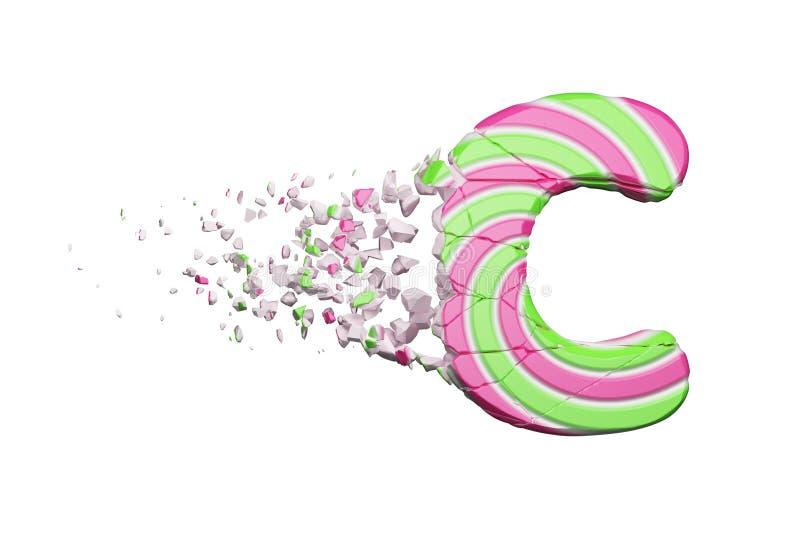 Defekter zerbrochener Alphabetbuchstabe C Zerquetschter Guss gemacht vom rosa und grünen gestreiften Lutscher 3d übertragen getre vektor abbildung