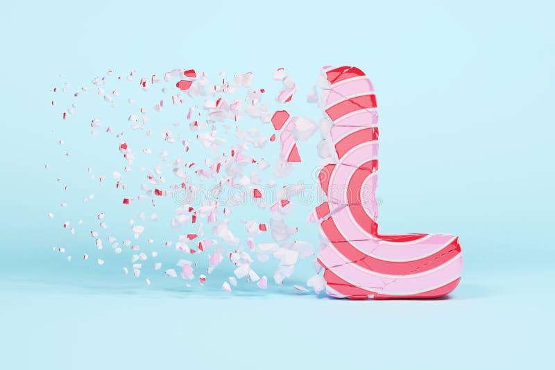 Defekter zerbrochener Alphabetbuchstabe L Versalien Zerquetschter Weihnachtsguß gemacht vom rosa und roten gestreiften Lutscher 3 vektor abbildung