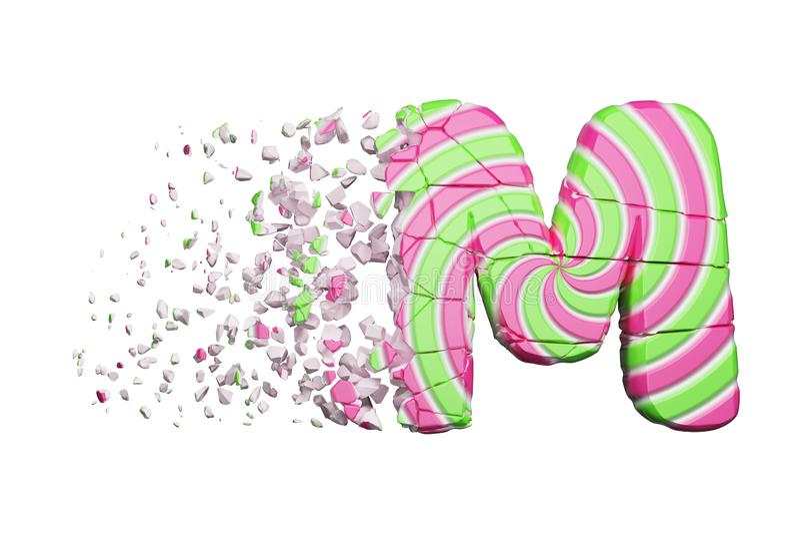 Defekter zerbrochener Alphabetbuchstabe M Zerquetschter Guss gemacht vom rosa und grünen gestreiften Lutscher 3d übertragen getre stock abbildung