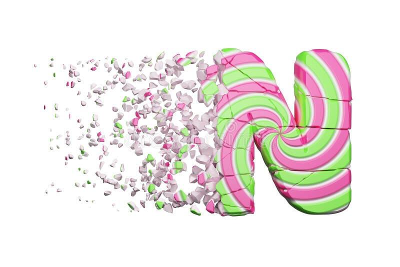 Defekter zerbrochener AlphabetBuchstabe N Zerquetschter Guss gemacht vom rosa und grünen gestreiften Lutscher 3d übertragen getre lizenzfreie abbildung