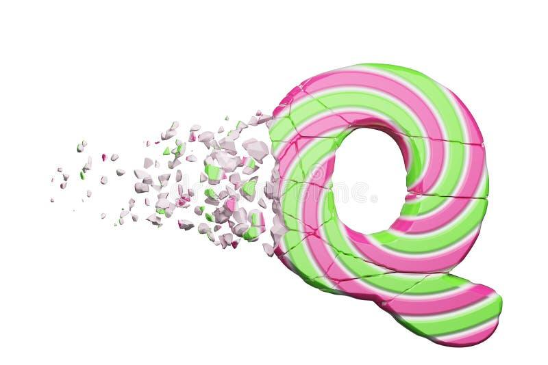 Defekter zerbrochener Alphabetbuchstabe Q Zerquetschter Guss gemacht vom rosa und grünen gestreiften Lutscher 3d übertragen getre stock abbildung