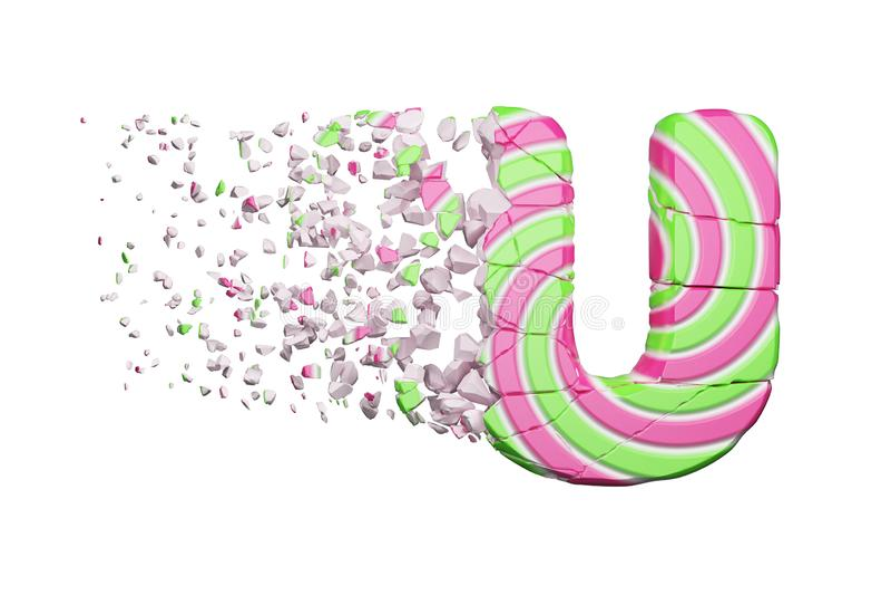 Defekter zerbrochener Alphabetbuchstabe U Zerquetschter Guss gemacht vom rosa und grünen gestreiften Lutscher 3d übertragen getre vektor abbildung