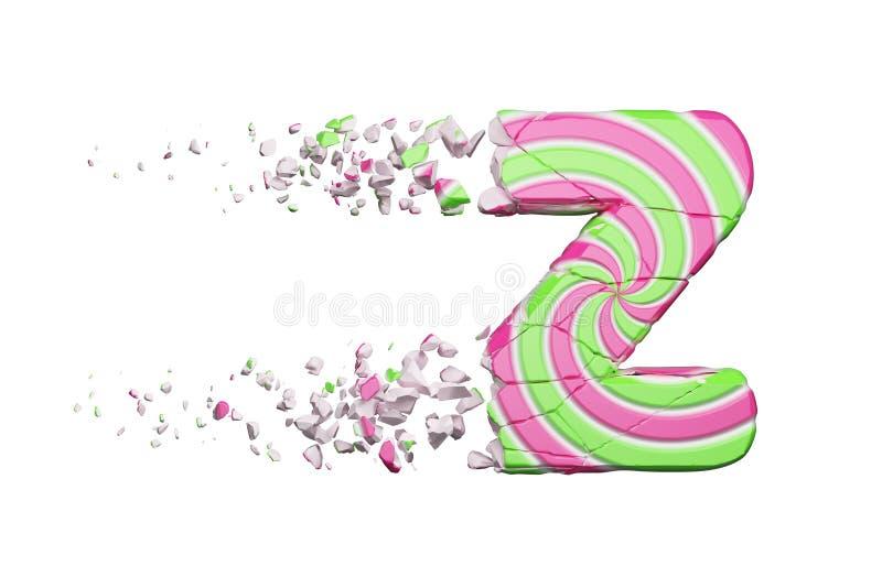 Defekter zerbrochener Alphabetbuchstabe Z Zerquetschter Guss gemacht vom rosa und grünen gestreiften Lutscher 3d übertragen getre lizenzfreie abbildung