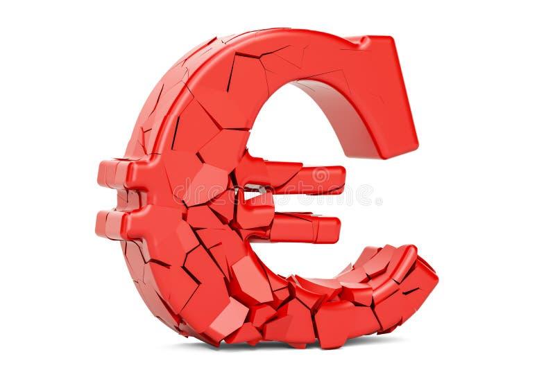 Defektes Eurosymbol, Wiedergabe 3D stock abbildung
