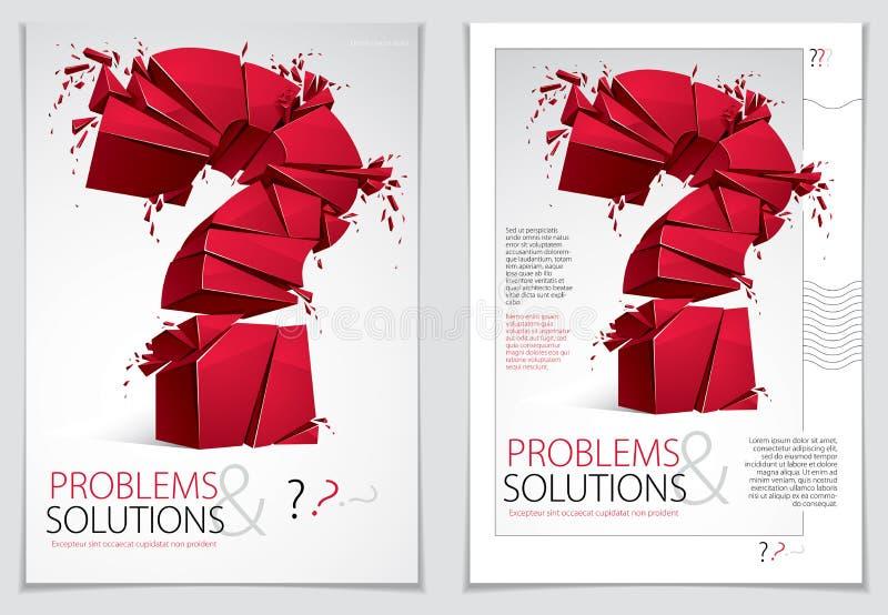 Defektes explodierendes Broschüren- oder Fliegerdesign des Fragezeichens, Frage b lizenzfreie abbildung