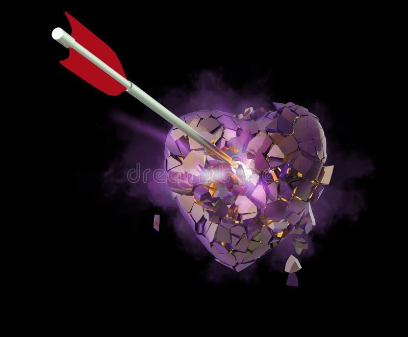 defektes glattes metallisches Herz mit dem Pfeil lokalisiert auf schwarzem Hintergrund Valentinsgrußtagesplakatschablone übertrag stockbilder