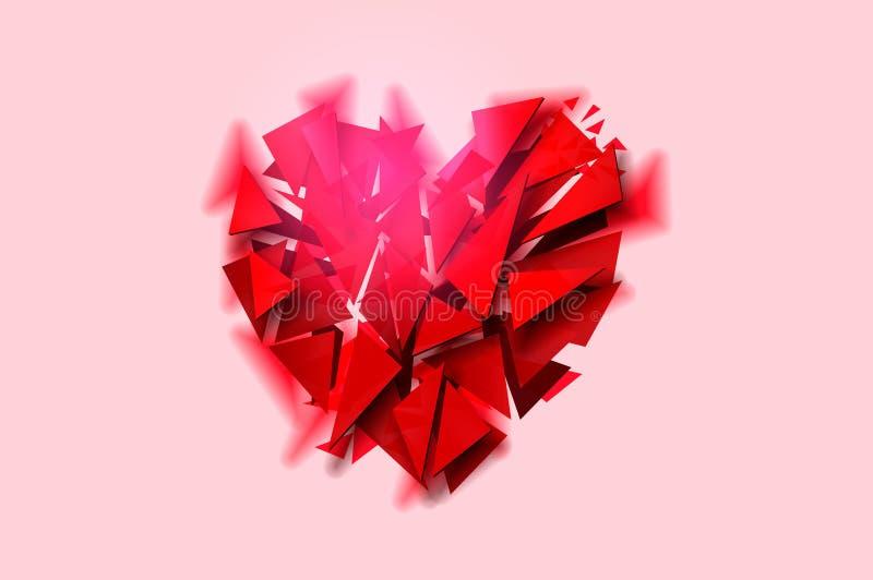 Defektes Herz auf einem rosa Hintergrund, Vektorillustration lizenzfreie abbildung
