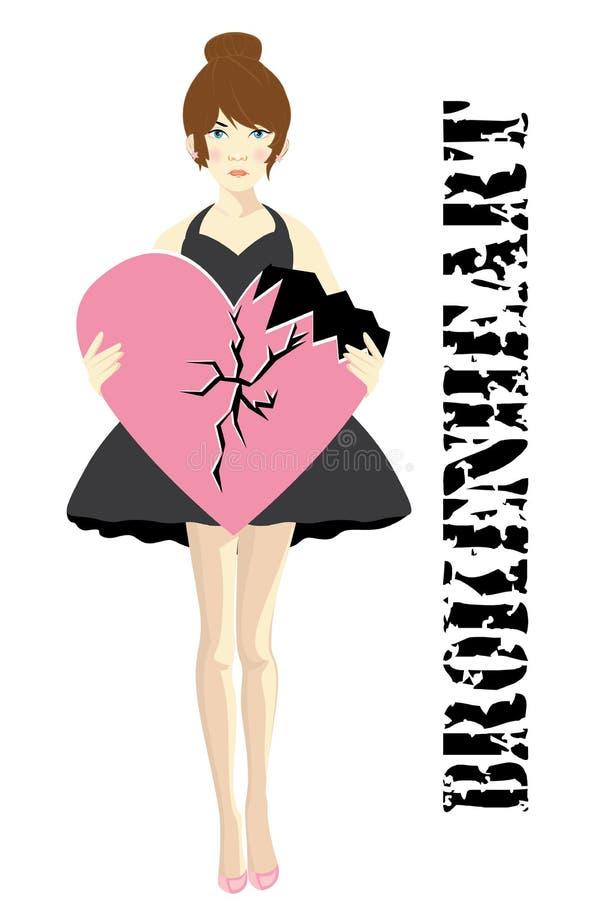 Defektes Herz der Frauen mit verärgertem Ausdruck und Herz brachen wie Hintergrund mit lokalisierter Farbe lizenzfreie abbildung