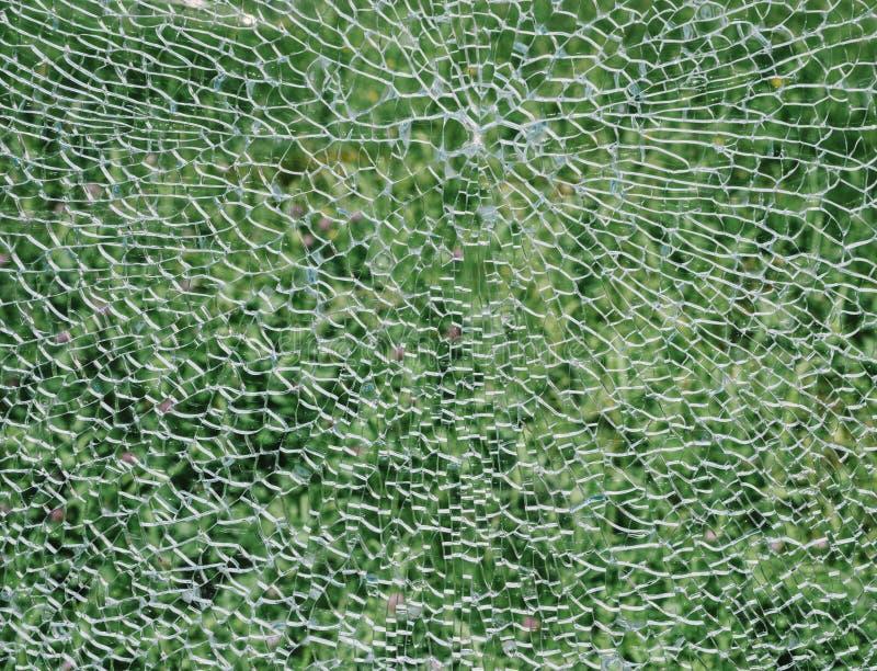 Defektes Windschutzscheibenglas auf einem grünen Hintergrund lizenzfreie stockfotografie
