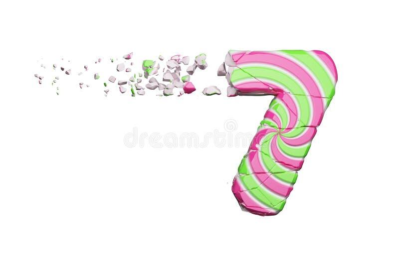 Defektes zerbrochenes Alphabet Nr. 7 Zerquetschter Guss gemacht vom rosa und grünen gestreiften Lutscher 3d übertragen getrennt a stock abbildung