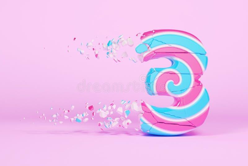 Defektes zerbrochenes Alphabet Nr. 3 Zerquetschter Weihnachtsguß gemacht vom rosa und blauen gestreiften Lutscher 3d übertragen stock abbildung