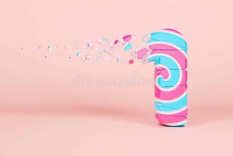 Defektes zerbrochenes Alphabet Nr. 1 Zerquetschter Weihnachtsguß gemacht vom rosa und blauen gestreiften Lutscher 3d übertragen lizenzfreie abbildung