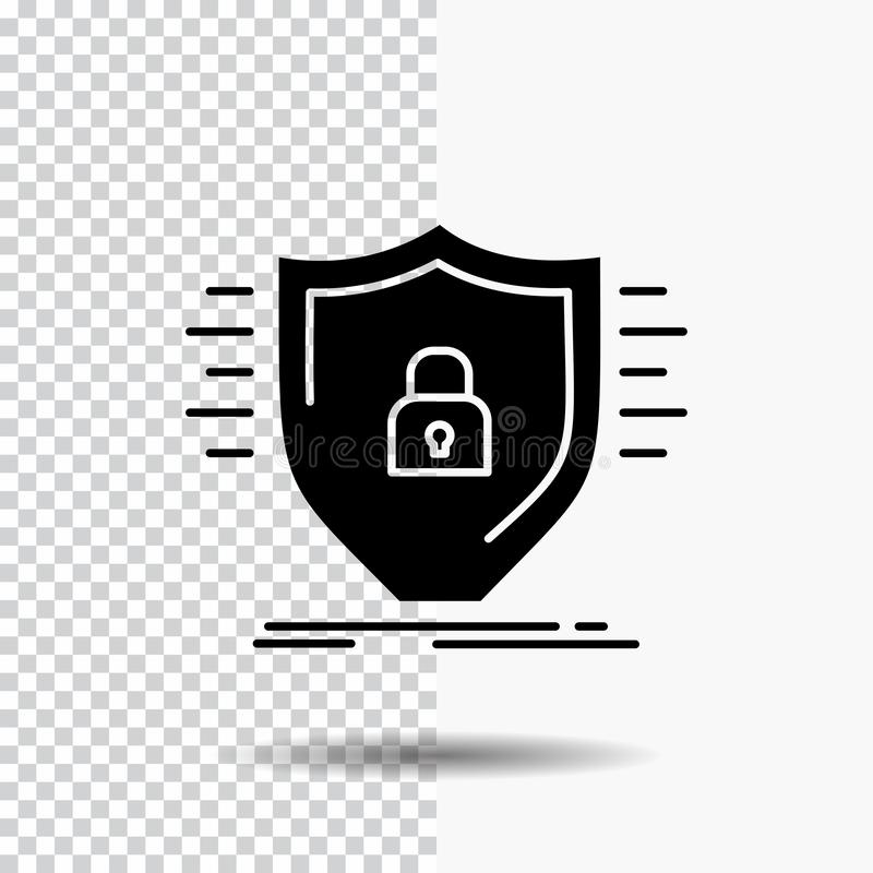 Defence, firewall, protection, safety, shield Glyph Icon on Transparent Background. Black Icon stock photography