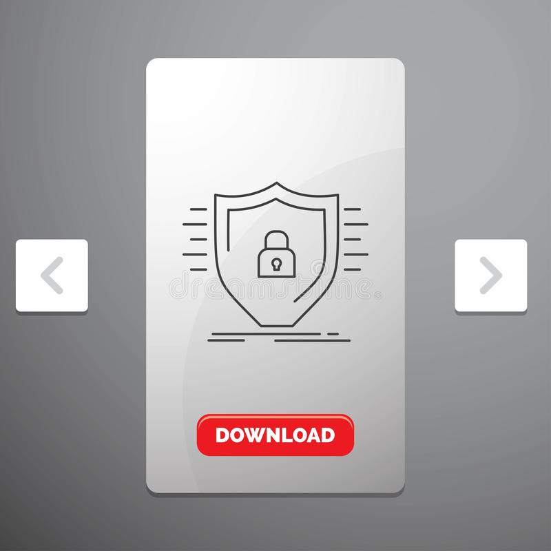Defence, firewall, protection, safety, shield Line Icon in Carousal Pagination Slider Design & Red Download Button. Vector EPS10 Abstract Template background vector illustration