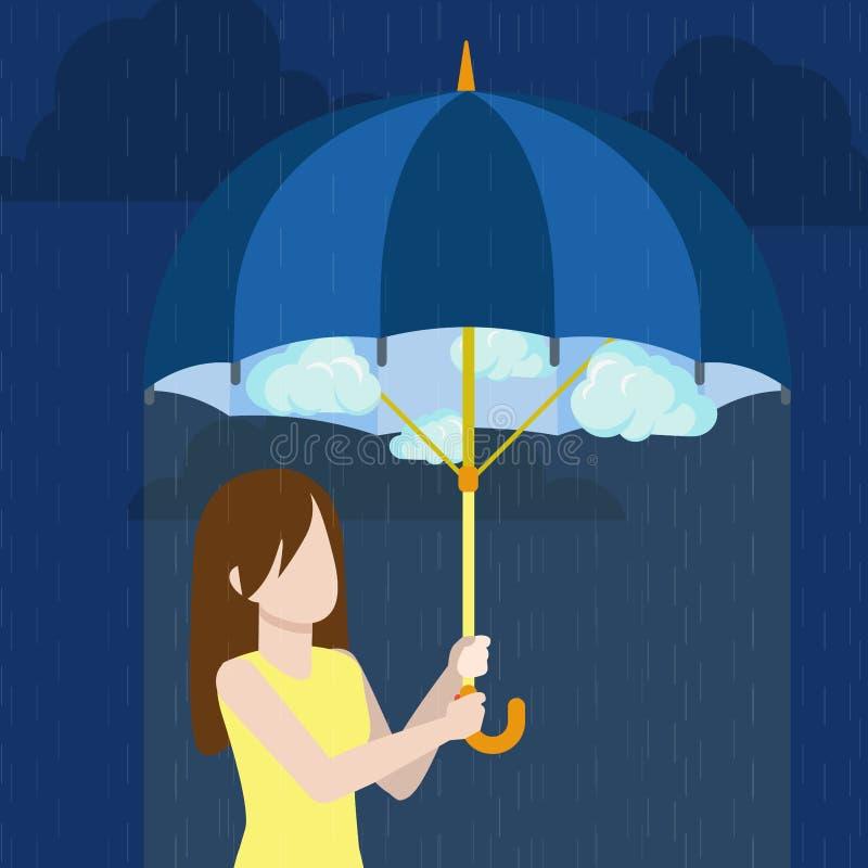 Defend defense trouble woman umbrella flat style v. Defend defense against trouble concept. Brunet young woman under cloudy sky vector. Girl under umbrella rainy vector illustration