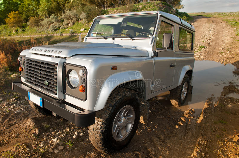 defender in off road stock image