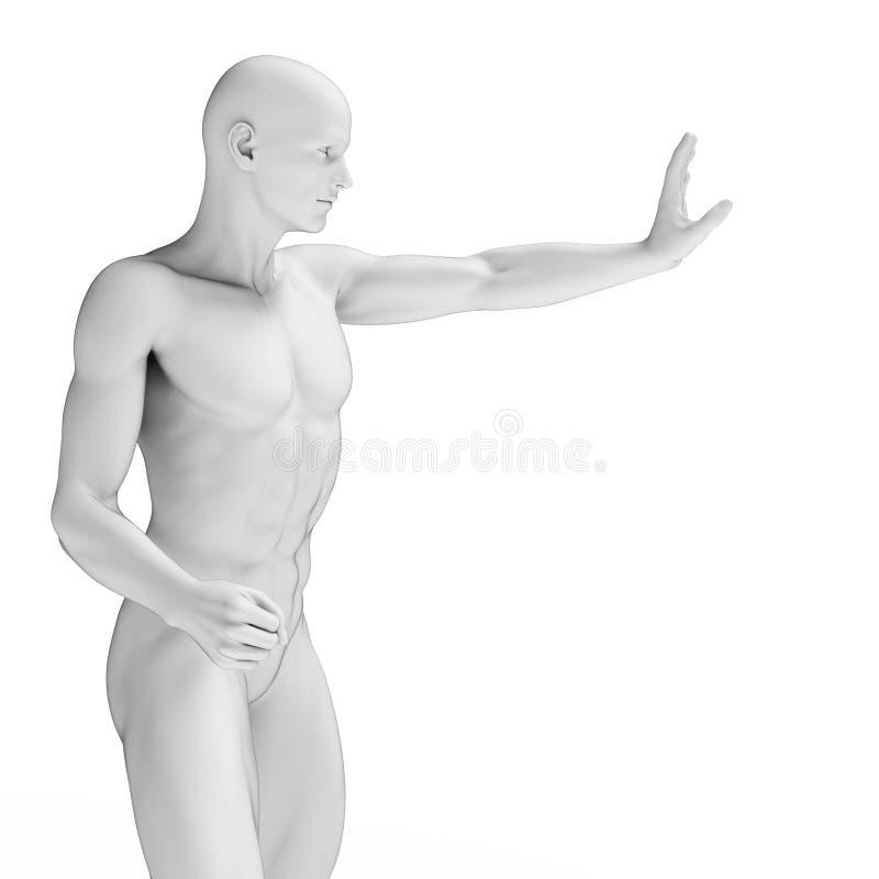 Defending man. 3d rendered illustration of a defending man stock illustration