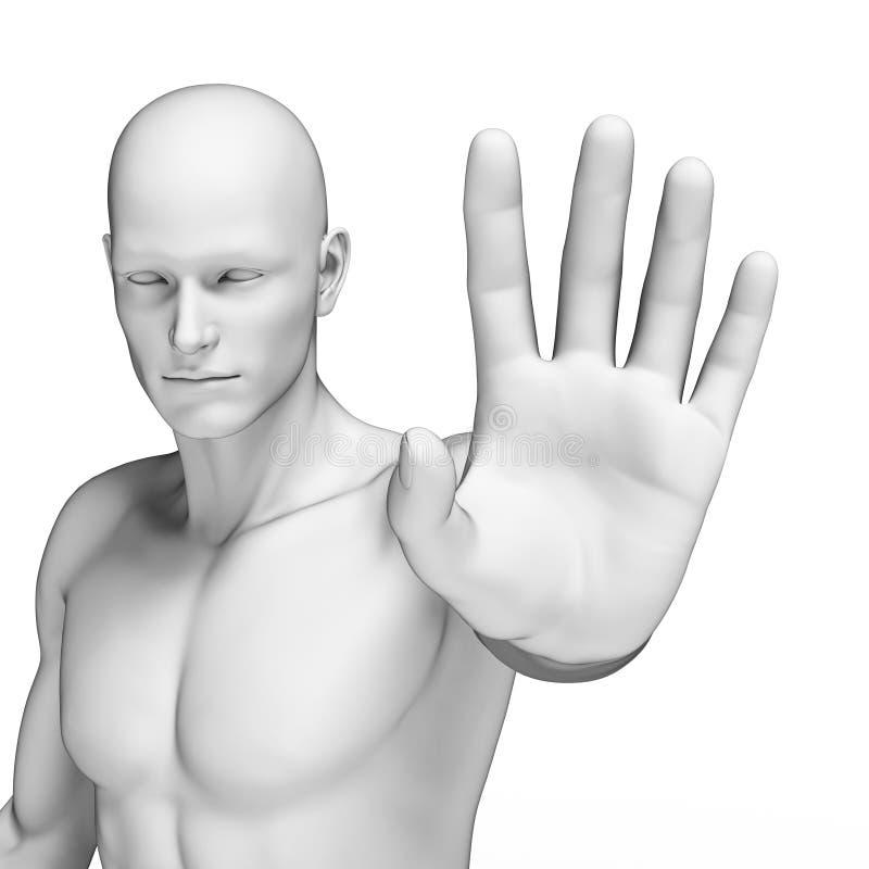 Defending man. 3d rendered illustration of a defending man royalty free illustration