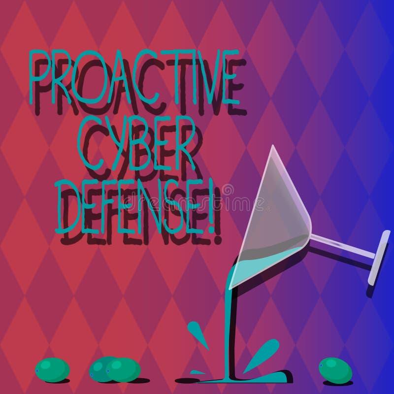 Defensa cibernética dinámica del texto de la escritura Concepto que significa la anticipación para oponerse a un ataque que impli stock de ilustración