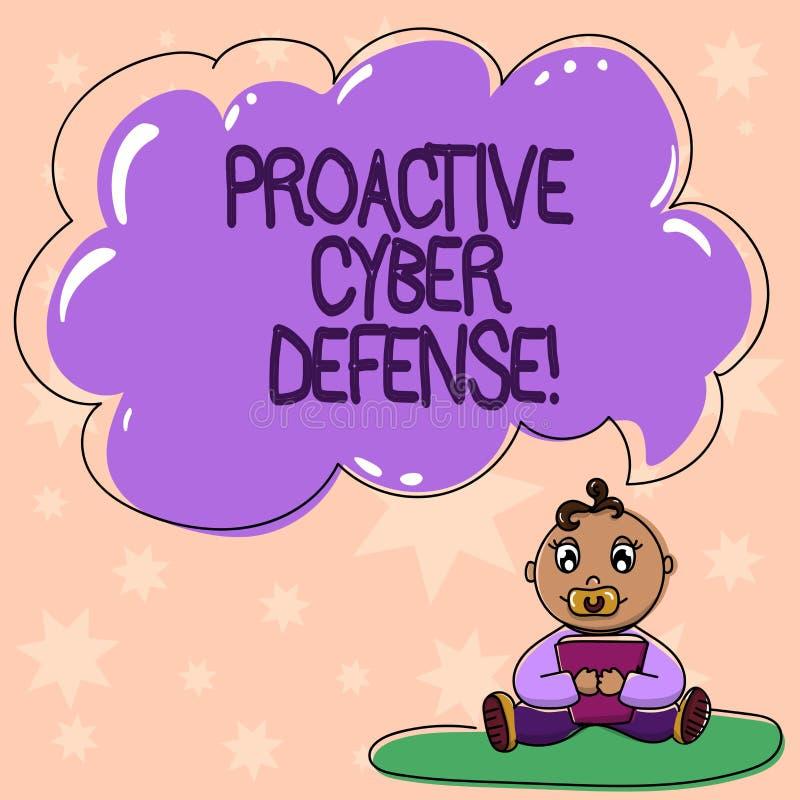 Defensa cibernética dinámica del texto de la escritura de la palabra Concepto del negocio para que anticipación se oponga a un at stock de ilustración