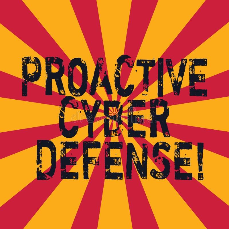 Defensa cibernética dinámica del texto de la escritura de la palabra Concepto del negocio para que anticipación se oponga a un at libre illustration