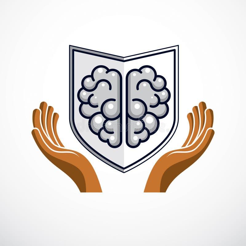 Defensa elegante, concepto de antivirus inteligente del software o cortafuego Cerebro anat?mico humano compuesto con el escudo de stock de ilustración