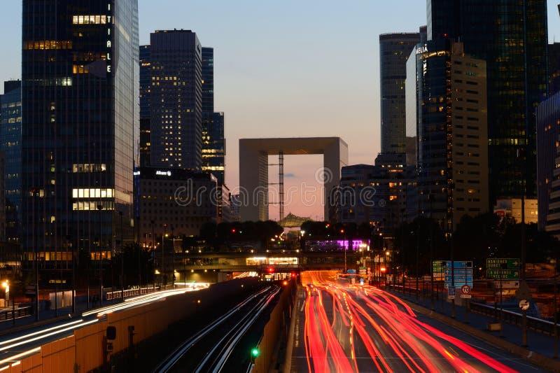 Defensa en la noche - París del La imagenes de archivo
