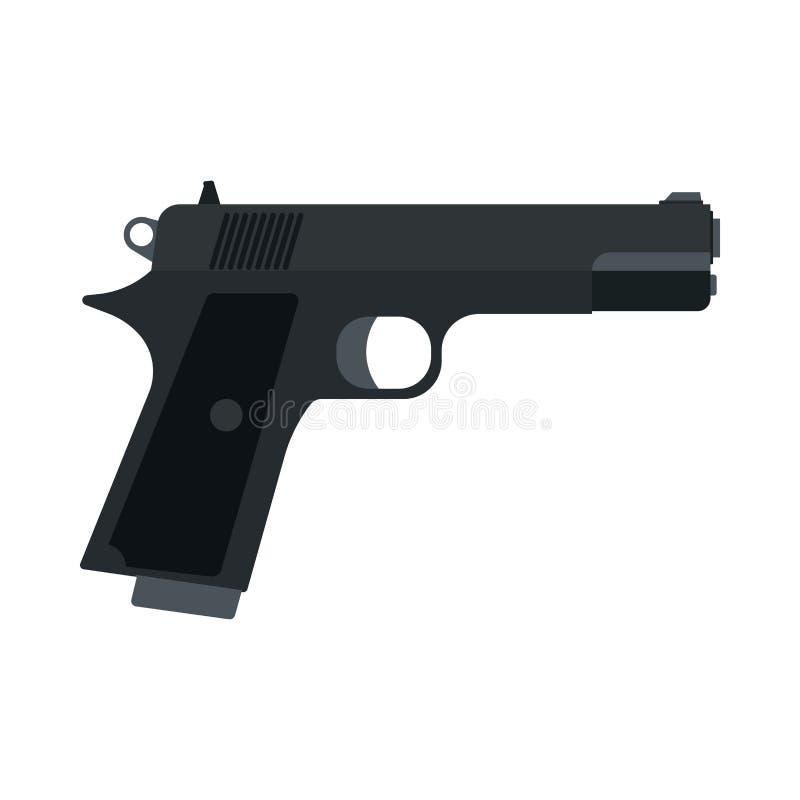 Defensa gráfica del ejército del metal del peligro de la vista lateral de la pistola Icono plano del vector del calibre 9m m de l stock de ilustración