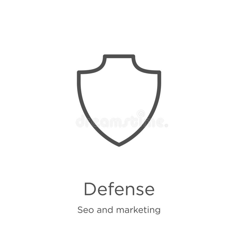 defense icon vector from seo and marketing collection. Thin line defense outline icon vector illustration. Outline, thin line vector illustration