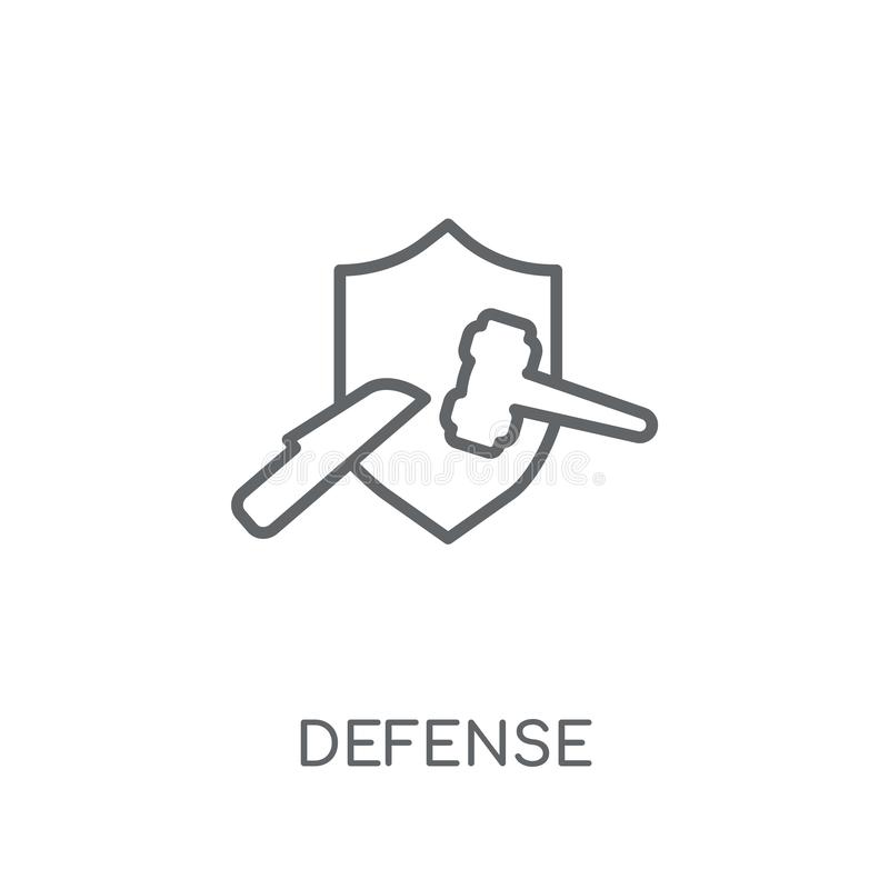 Defense linear icon. Modern outline Defense logo concept on whit stock illustration