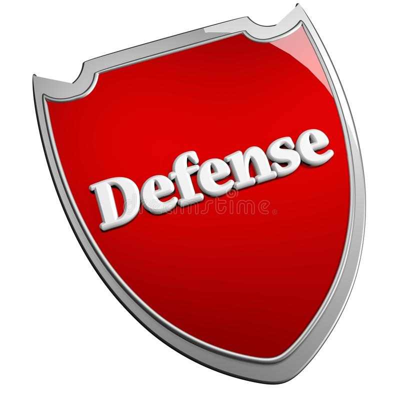 Defense shield. Red Defense shield, isolated over white, 3d render royalty free illustration