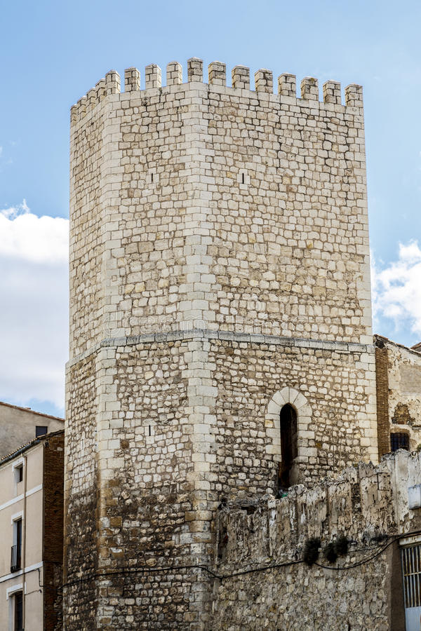 Defense tower and gate to the city of Teruel royalty free stock image