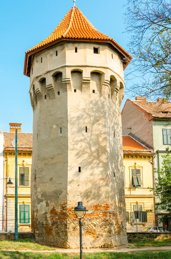 Defense tower in Sibiu stock images